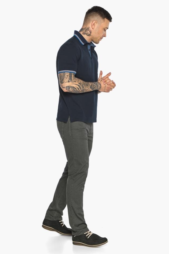 Комфортная мужская тёмно-синяя футболка поло модель 5836 Braggart фото 7