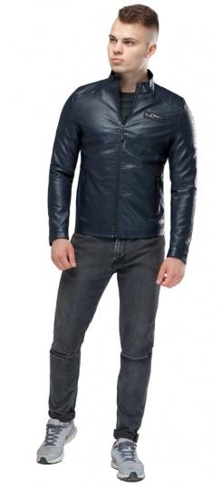 """Курточка зі штучної шкіри чоловіча осінньо-весняна темно-синя модель 36361 Braggart """"Youth"""" фото 1"""