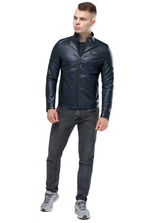 """Курточка из искусственной кожи мужская осенне-весенняя тёмно-синяя модель 36361 Braggart """"Youth"""" фото 1"""