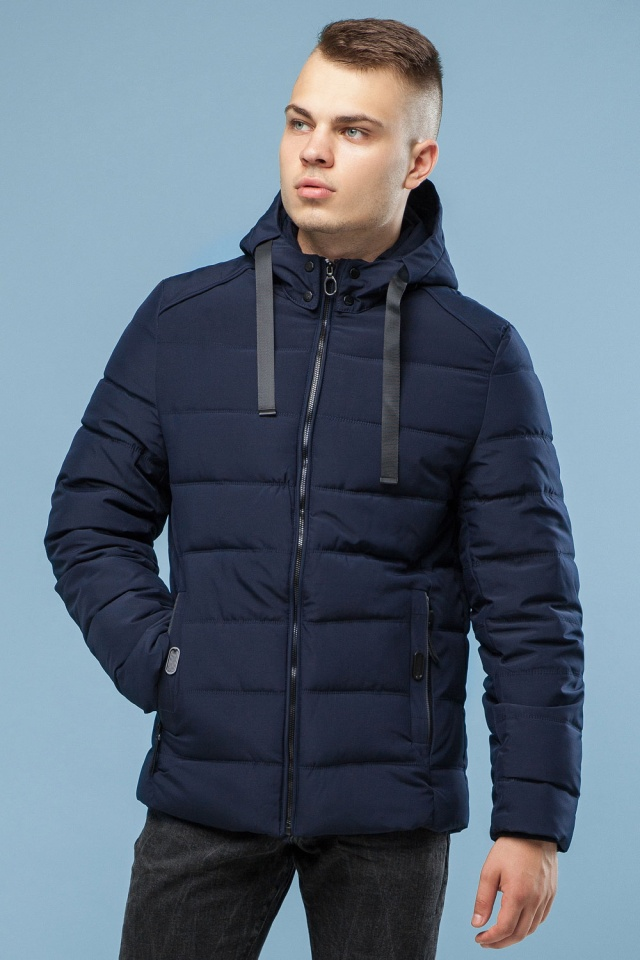 Тёплая зимняя куртка мужская тёмно-синяя модель 6008 Kiro Tokao – Ajento фото 4