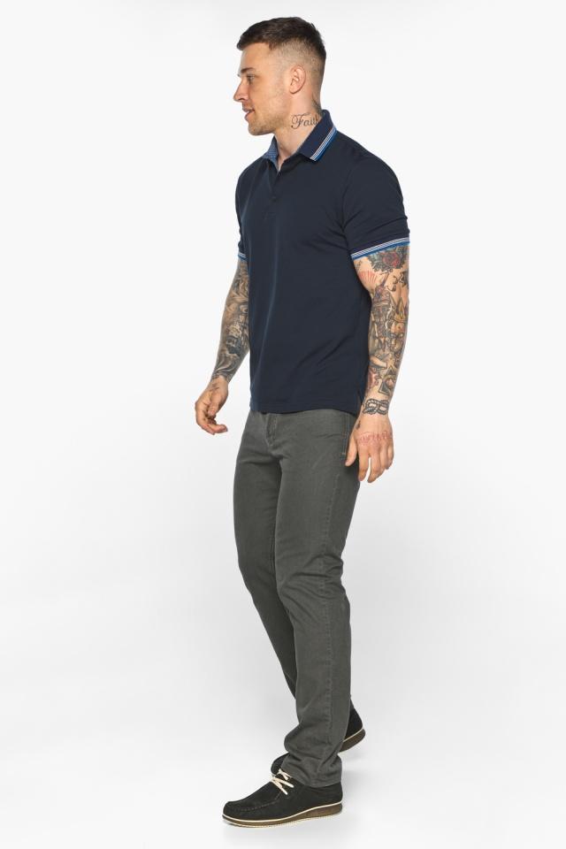 Комфортная мужская тёмно-синяя футболка поло модель 5836 Braggart фото 5