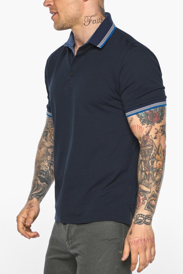 Комфортная мужская тёмно-синяя футболка поло модель 5836 Braggart фото 9