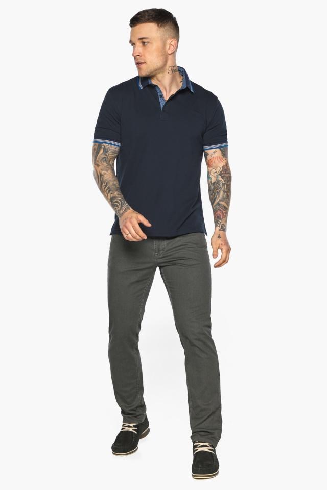 Комфортная мужская тёмно-синяя футболка поло модель 5836 Braggart фото 2