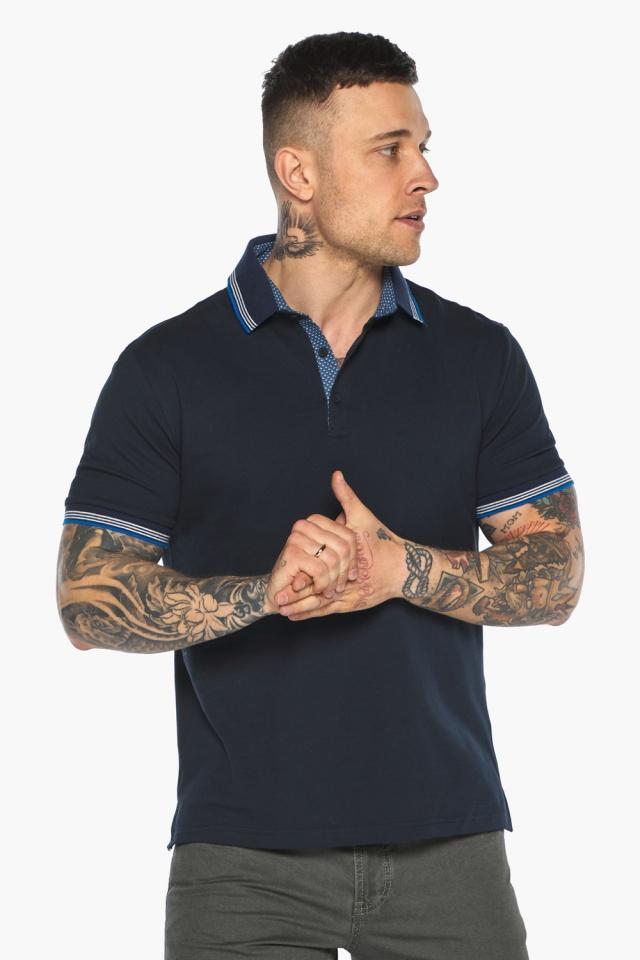 Комфортная мужская тёмно-синяя футболка поло модель 5836 Braggart фото 3