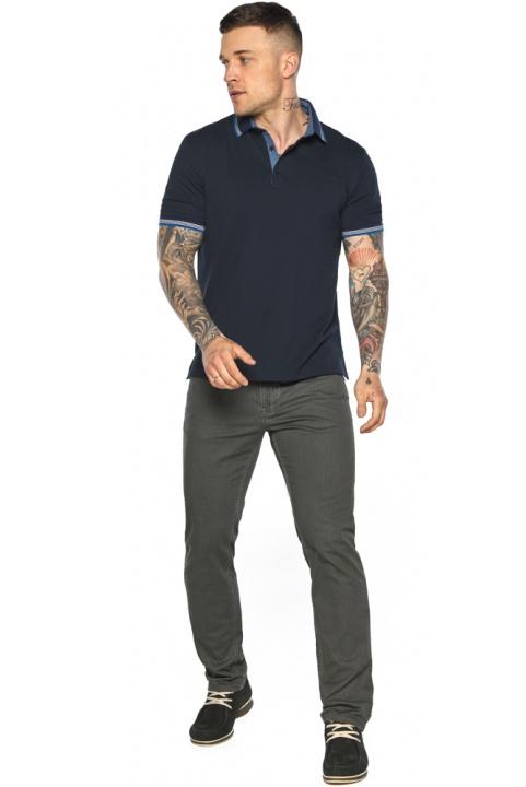 Комфортная мужская тёмно-синяя футболка поло модель 5836 Braggart фото 1