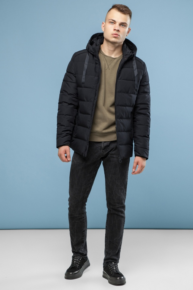 Модная мужская зимняя куртка чёрная модель 6008 Kiro Tokao – Ajento фото 4
