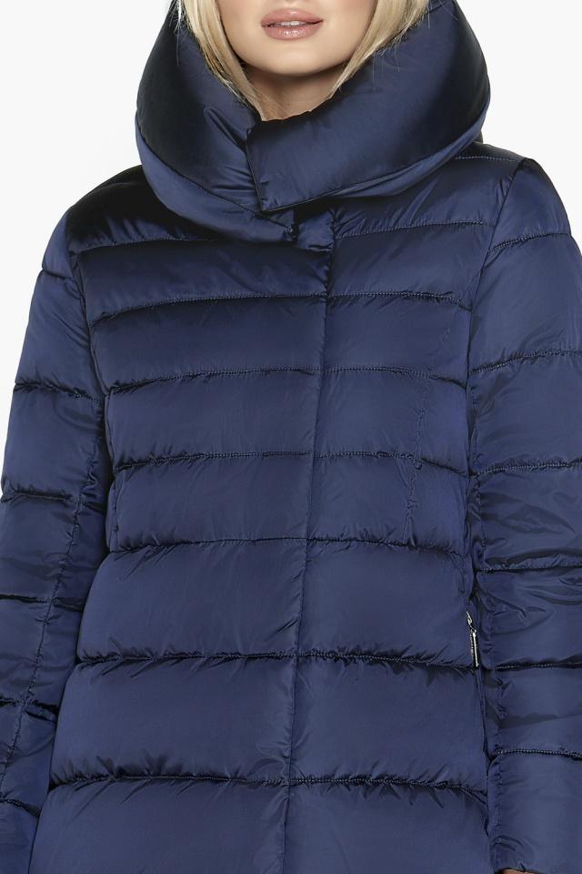 Синяя зимняя куртка женская длинная модель 31515