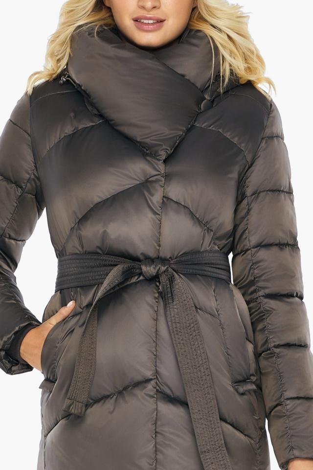 """Капучиновая зимняя куртка женская с карманами модель 47260  Braggart """"Angel's Fluff"""" фото 8"""