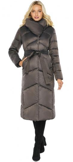 """Капучиновая зимняя куртка женская с карманами модель 47260  Braggart """"Angel's Fluff"""" фото 1"""