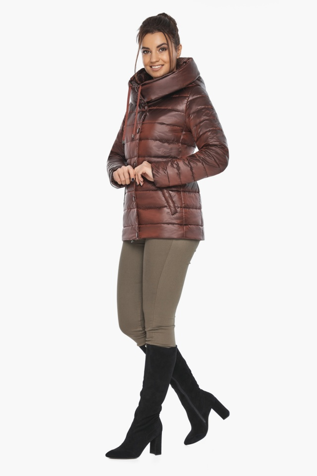 """Куртка каштановая женская фирменная модель 61030 Braggart """"Angel's Fluff"""" фото 4"""