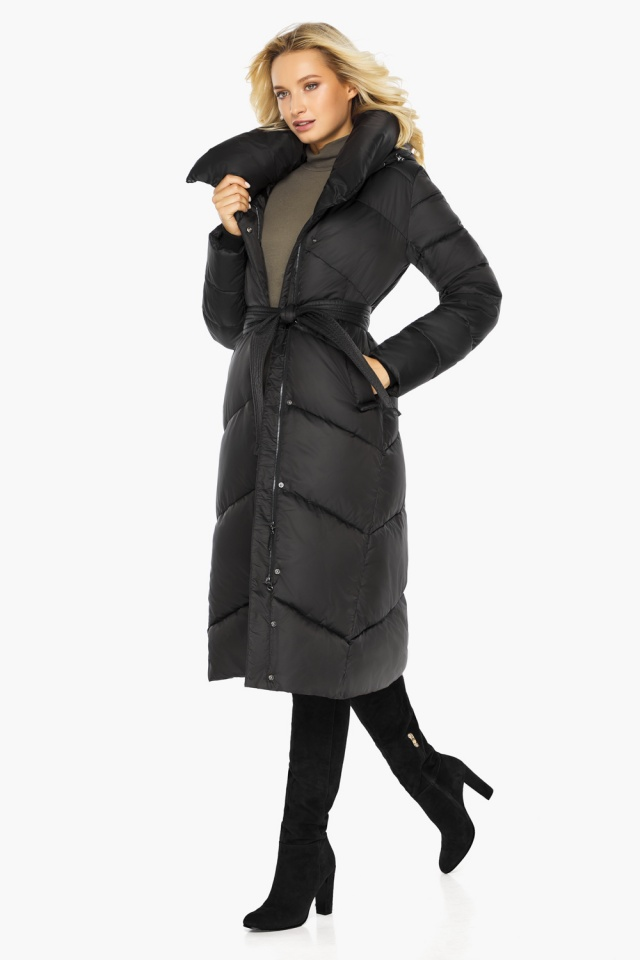 """Куртка черная женская на зиму длинная модель 47260 Braggart """"Angel's Fluff"""" фото 3"""