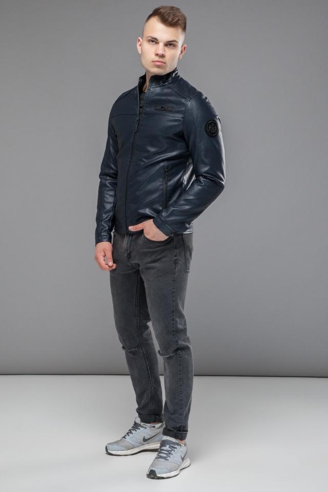"Темно-синяя молодежная куртка осенне-весенняя на молнии мужская модель 25825 Braggart ""Youth"" фото 4"
