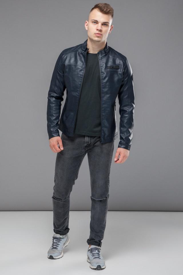 "Темно-синяя молодежная куртка осенне-весенняя на молнии мужская модель 25825 Braggart ""Youth"" фото 2"