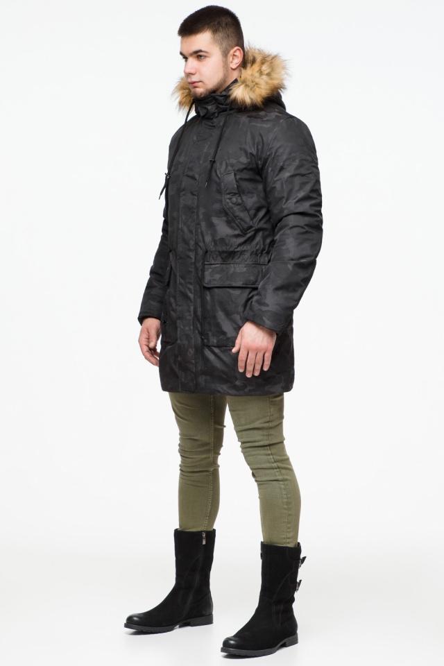 """Стильная брендовая парка на подростка чёрная модель 25500 Braggart """"Youth"""" фото 4"""
