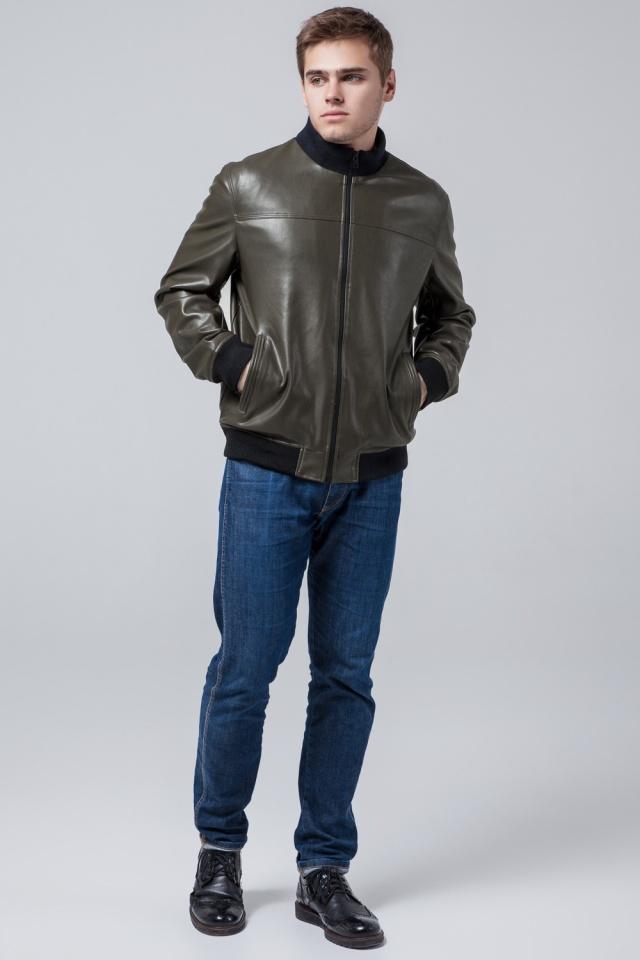 Осенне-весенняя молодежная легкая куртка мужская цвета хаки модель 2970