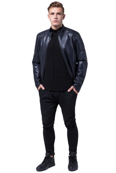 """Мальчиковая куртка кожа из искусственных нитей тёмно-синяя модель 4129 Braggart """"Youth"""" фото 1"""