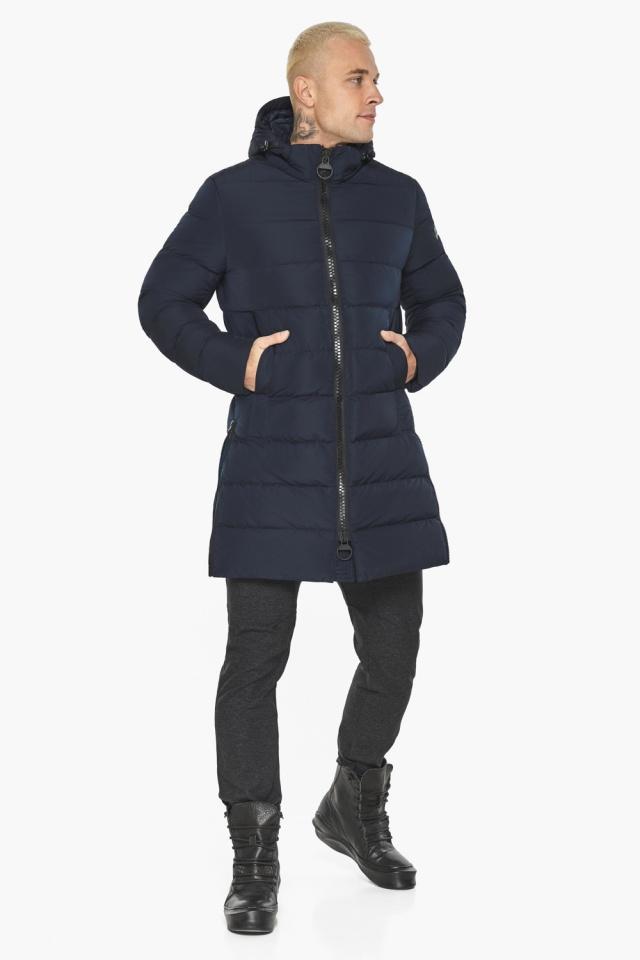 """Тёмно-синяя мужская зимняя куртка удобная модель 49032 Braggart """"Aggressive"""" фото 2"""