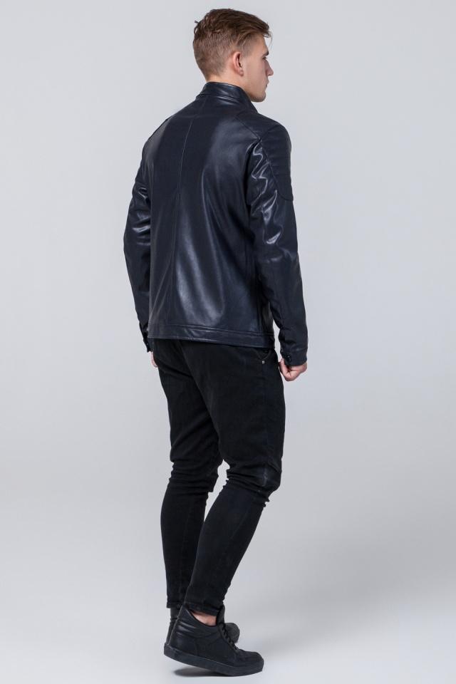 """Мальчиковая куртка кожа из искусственных нитей тёмно-синяя модель 4129 Braggart """"Youth"""" фото 5"""