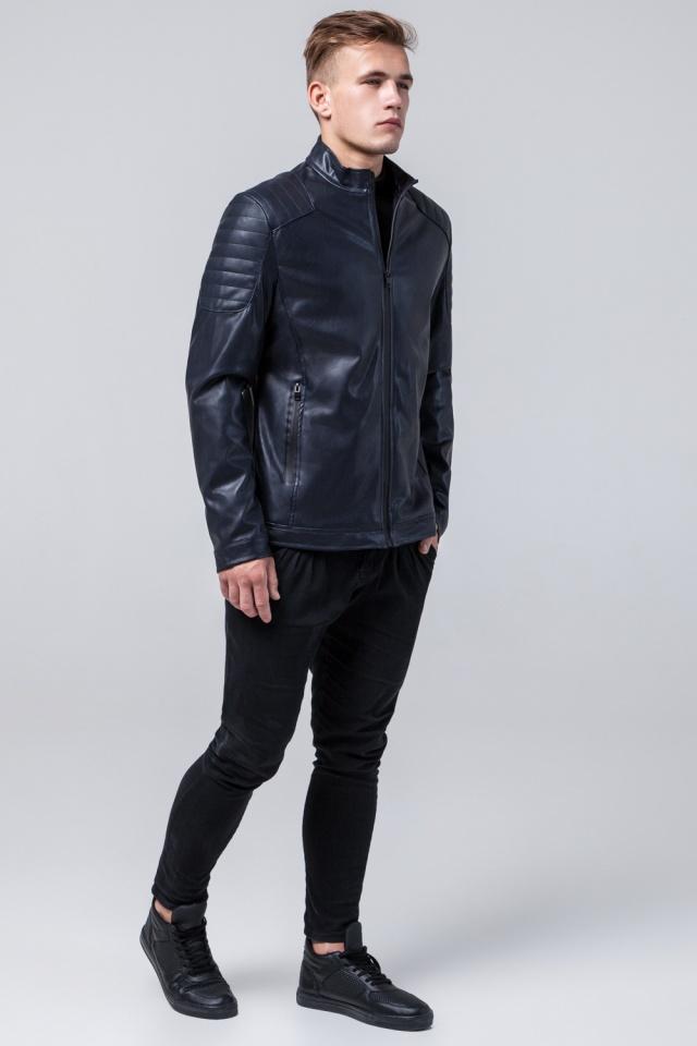 """Мальчиковая куртка кожа из искусственных нитей тёмно-синяя модель 4129 Braggart """"Youth"""" фото 4"""