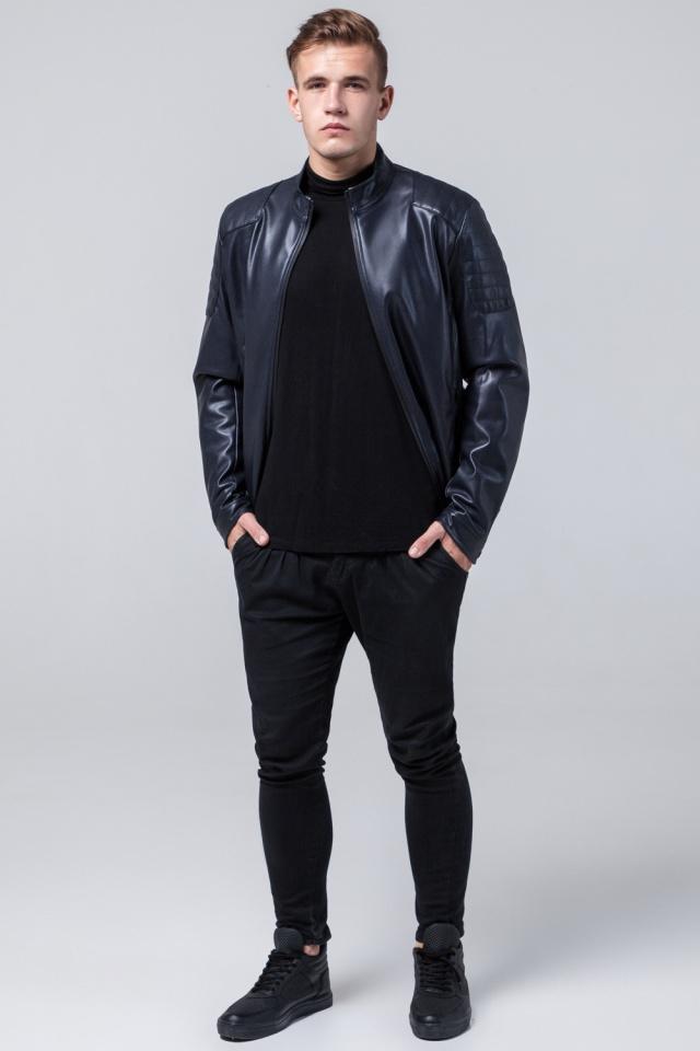 """Мальчиковая куртка кожа из искусственных нитей тёмно-синяя модель 4129 Braggart """"Youth"""" фото 2"""