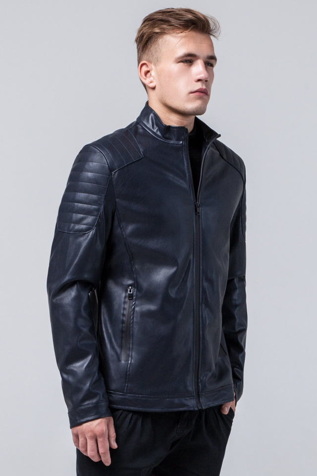 """Мальчиковая куртка кожа из искусственных нитей тёмно-синяя модель 4129 Braggart """"Youth"""" фото 3"""