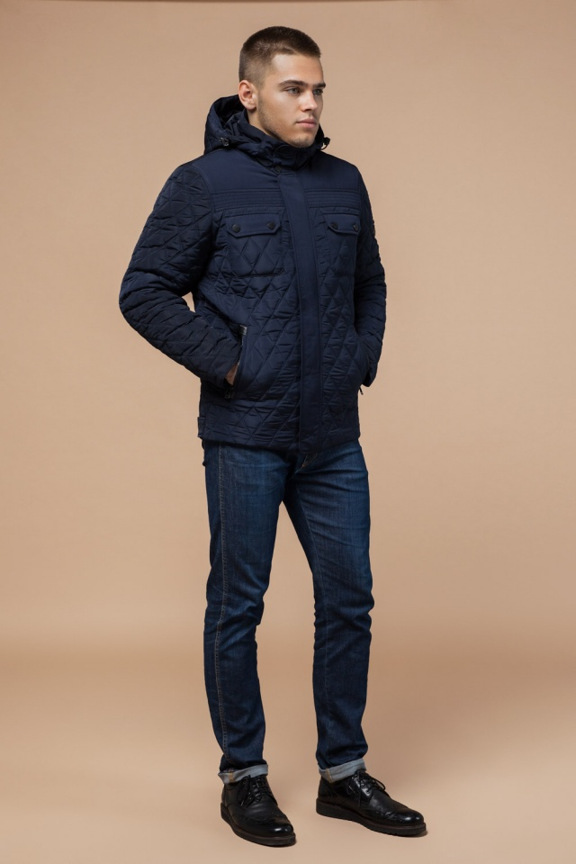 """Мужская зимняя куртка стеганая цвет синий модель 1698 Braggart """"Dress Code"""" фото 4"""