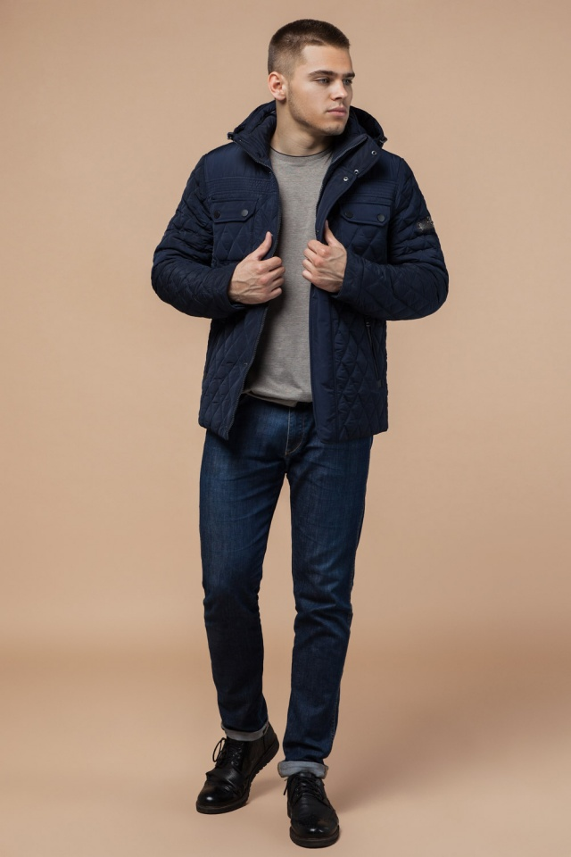 """Мужская зимняя куртка стеганая цвет синий модель 1698 Braggart """"Dress Code"""" фото 2"""
