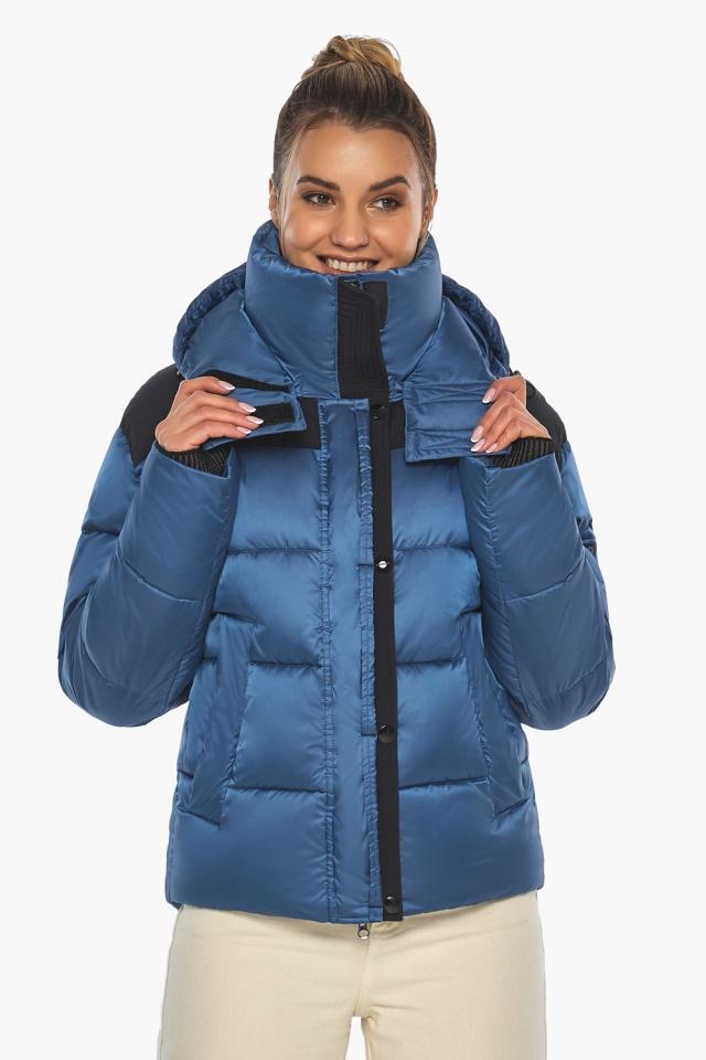 """Куртка женская с карманами аквамариновая зимняя модель 57520 Braggart """"Angel's Fluff"""" фото 5"""