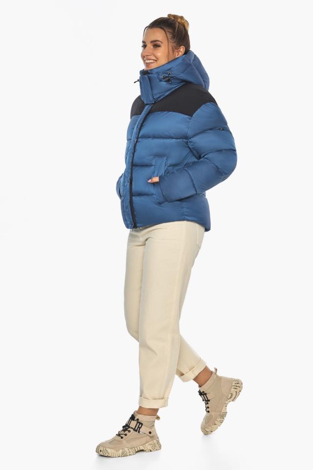 """Куртка женская с карманами аквамариновая зимняя модель 57520 Braggart """"Angel's Fluff"""" фото 3"""