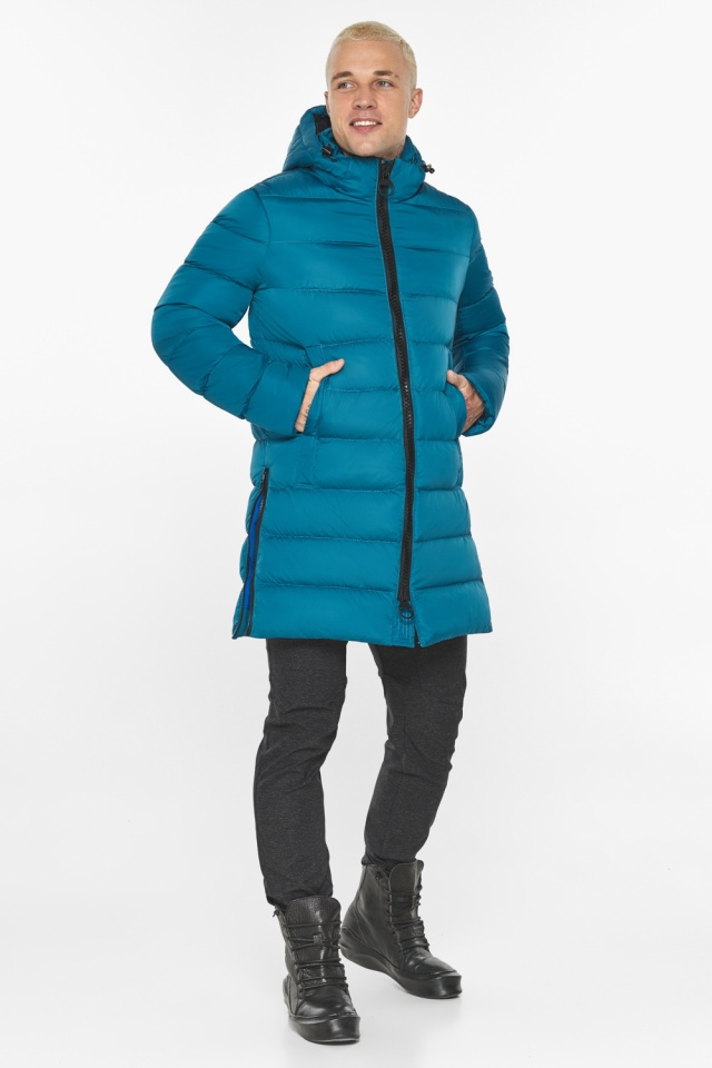 """Бирюзовая куртка мужская модная для зимы модель 49032 Braggart """"Aggressive"""" фото 2"""