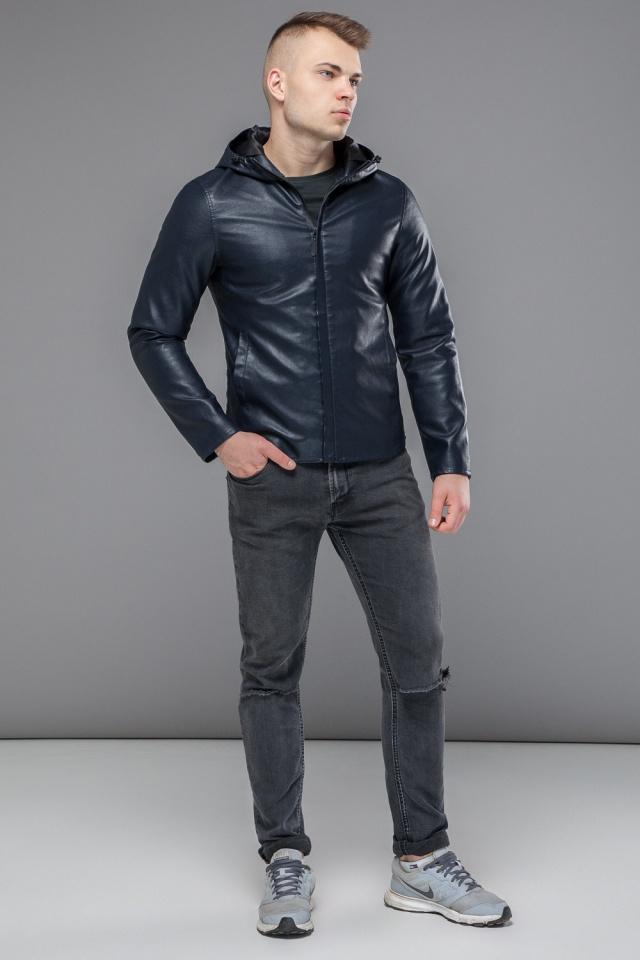 """Стильная кожаная куртка мужская осенне-весенняя тёмно-синяя модель 15353 Braggart """"Youth"""" фото 2"""