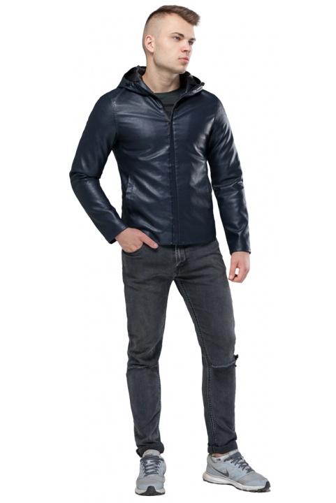 """Стильная кожаная куртка мужская осенне-весенняя тёмно-синяя модель 15353 Braggart """"Youth"""" фото 1"""