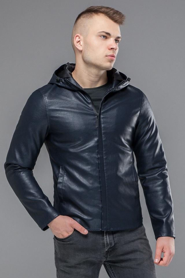"""Стильная кожаная куртка мужская осенне-весенняя тёмно-синяя модель 15353 Braggart """"Youth"""" фото 4"""