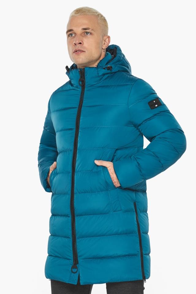 """Бирюзовая куртка мужская модная для зимы модель 49032 Braggart """"Aggressive"""" фото 4"""