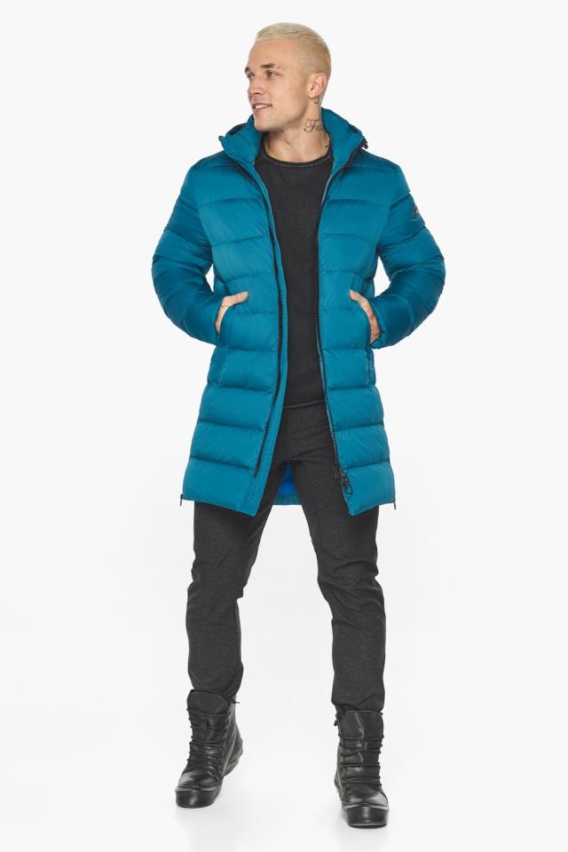 """Бирюзовая куртка мужская модная для зимы модель 49032 Braggart """"Aggressive"""" фото 3"""
