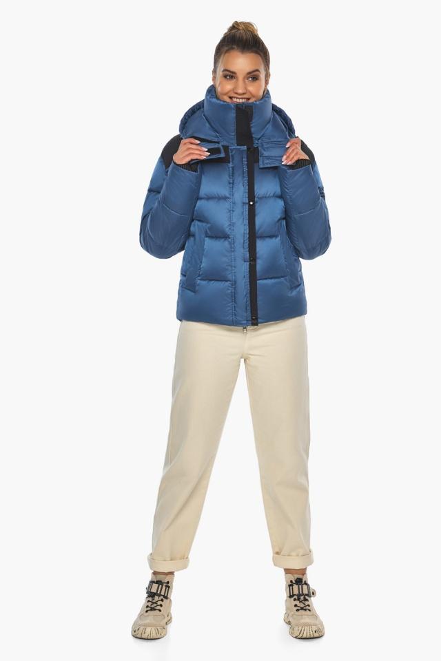 """Куртка женская с карманами аквамариновая зимняя модель 57520 Braggart """"Angel's Fluff"""" фото 2"""
