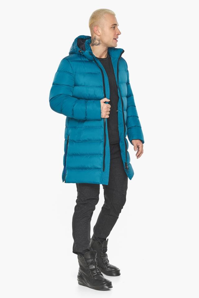 """Бирюзовая куртка мужская модная для зимы модель 49032 Braggart """"Aggressive"""" фото 5"""