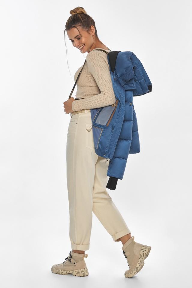 """Куртка женская с карманами аквамариновая зимняя модель 57520 Braggart """"Angel's Fluff"""" фото 4"""