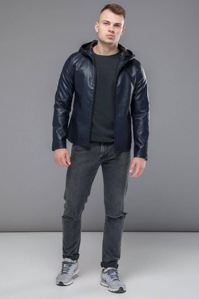 """Стильная кожаная куртка мужская осенне-весенняя тёмно-синяя модель 15353 Braggart """"Youth"""" фото 3"""