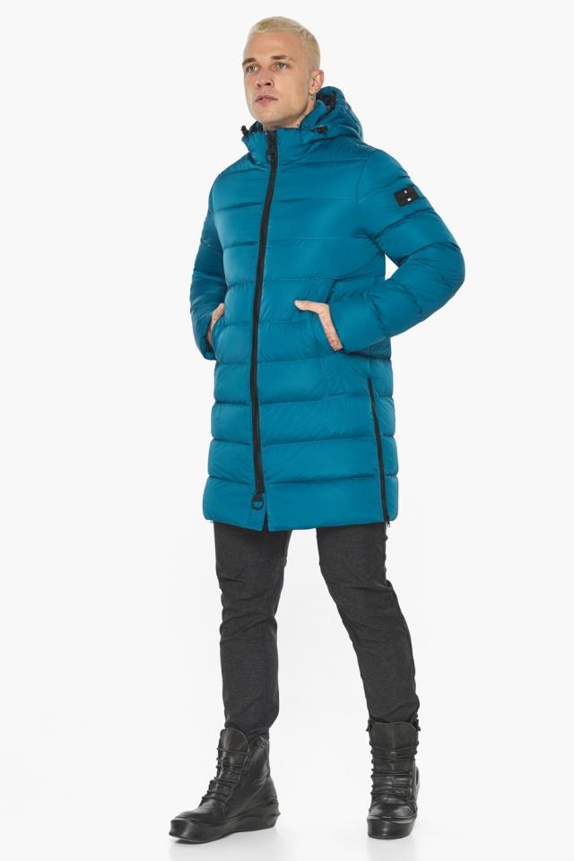 """Бирюзовая куртка мужская модная для зимы модель 49032 Braggart """"Aggressive"""" фото 7"""