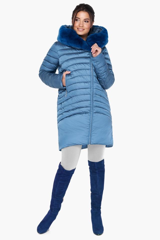 """Куртка аквамариновая женская свободного фасона модель 31038 Braggart """"Angel's Fluff"""" фото 5"""