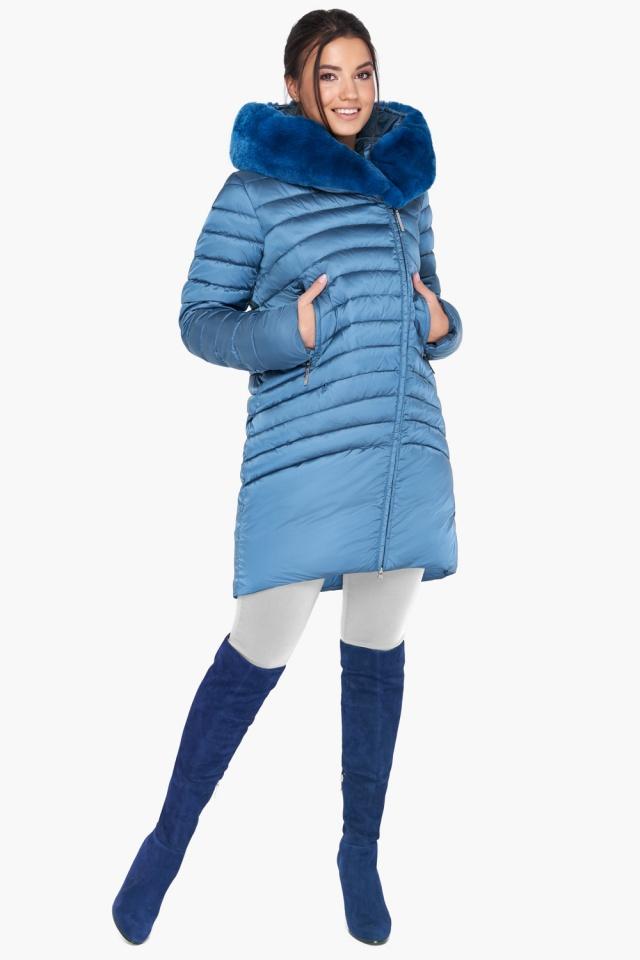 """Куртка аквамариновая женская свободного фасона модель 31038 Braggart """"Angel's Fluff"""" фото 2"""