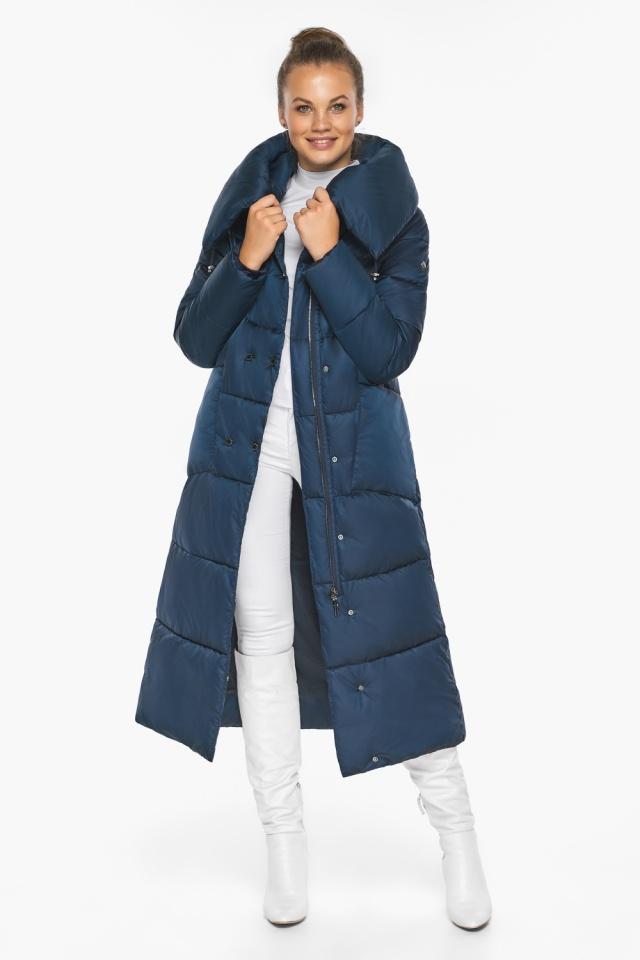 """Куртка сапфировая женская зимняя с манжетами модель 46150 Braggart """"Angel's Fluff"""" фото 3"""