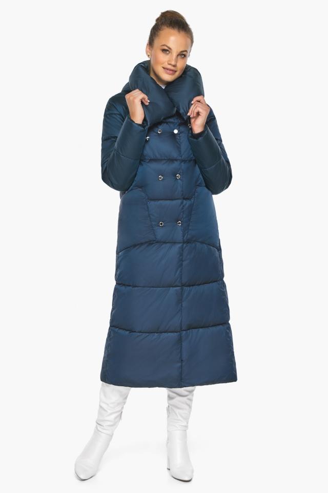 """Куртка сапфировая женская зимняя с манжетами модель 46150 Braggart """"Angel's Fluff"""" фото 4"""