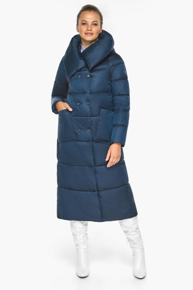 """Куртка сапфировая женская зимняя с манжетами модель 46150 Braggart """"Angel's Fluff"""" фото 6"""