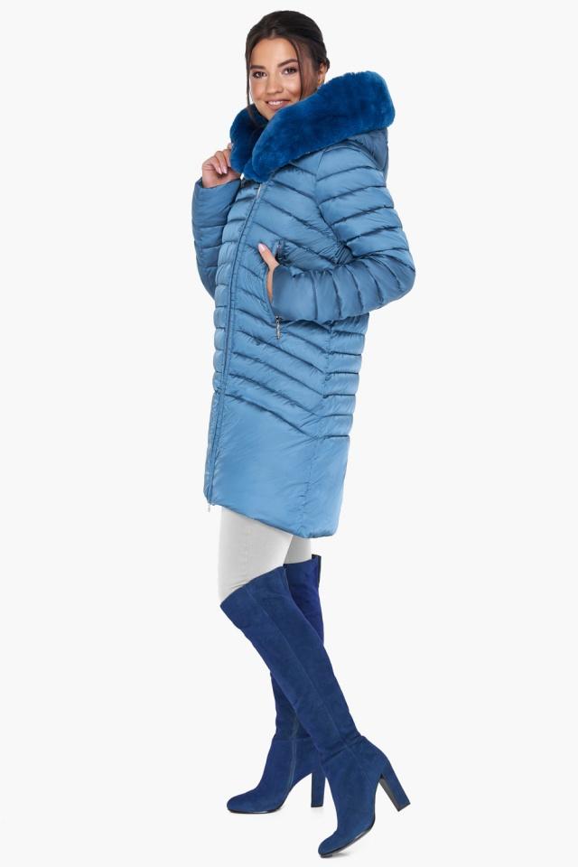 """Куртка аквамариновая женская свободного фасона модель 31038 Braggart """"Angel's Fluff"""" фото 4"""