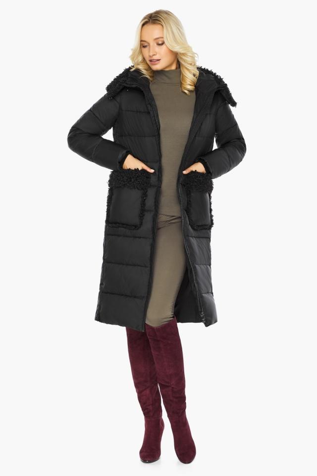 """Женская куртка длинная чёрная на зиму модель 47575 Braggart """"Angel's Fluff"""" фото 3"""