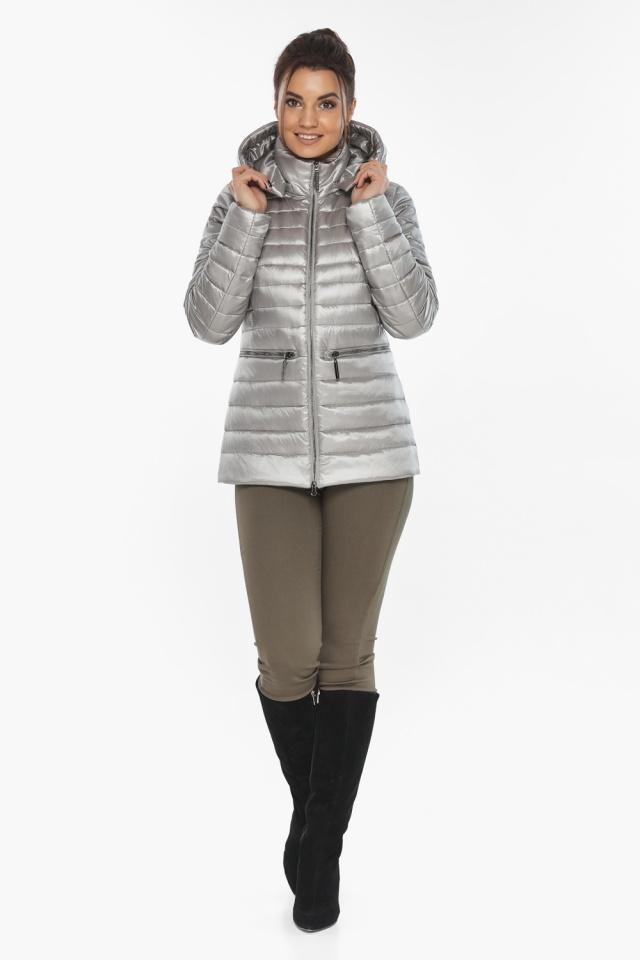 """Фирменная женская куртка цвет перламутровый светло-серый модель 63045 Braggart """"Angel's Fluff"""" фото 5"""