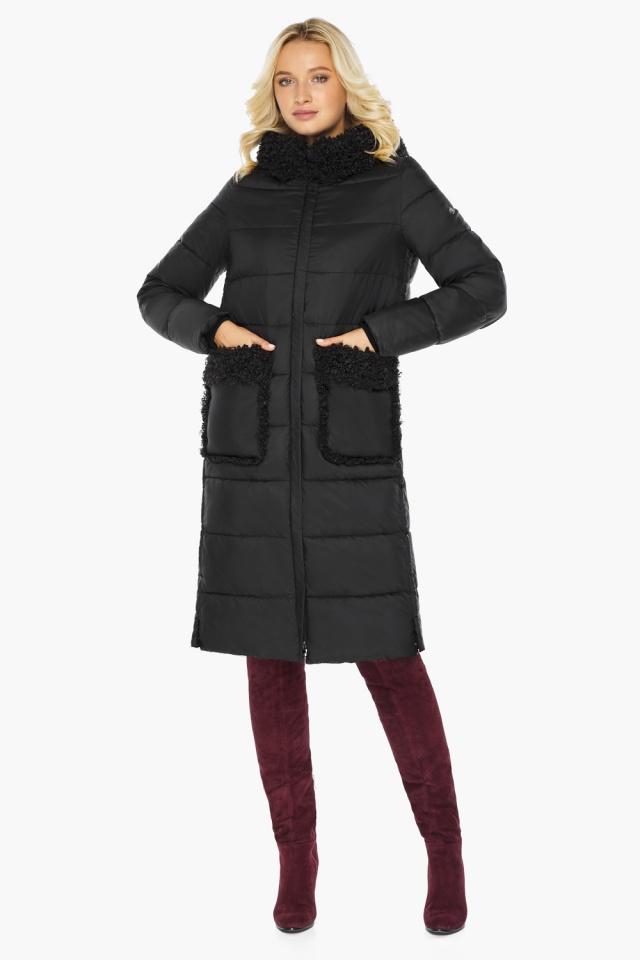 """Женская куртка длинная чёрная на зиму модель 47575 Braggart """"Angel's Fluff"""" фото 7"""