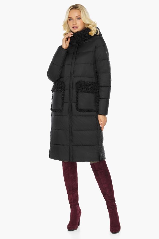"""Женская куртка длинная чёрная на зиму модель 47575 Braggart """"Angel's Fluff"""" фото 2"""